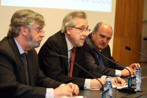 Antonio Macho, Cadenas Sobreira y Arrojo Fernández en la clausura de la jornada técnica