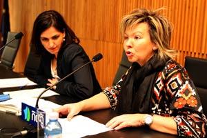 Rosa Lendoiro, presidenta del Colegio de Farmacéuticos de A Coruña durante la presentación de la ponente